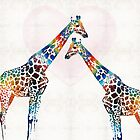 Colorful Giraffe Art - I've Got Your Back - By Sharon Cummings by Sharon Cummings
