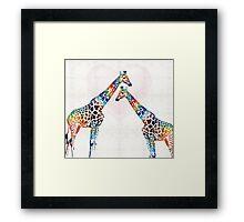 Colorful Giraffe Art - I've Got Your Back - By Sharon Cummings Framed Print