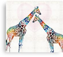 Colorful Giraffe Art - I've Got Your Back - By Sharon Cummings Canvas Print