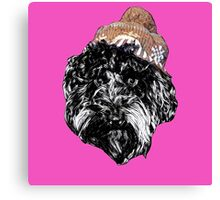 Cockapoo in a Winter Hat (Pink) Canvas Print