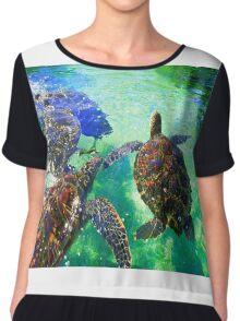Swimming Sea Turtles  Chiffon Top
