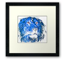 Cool Lion With Red Eyes And Blue Flame Framed Print