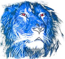 Cool Lion With Red Eyes And Blue Flame Photographic Print