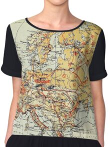 Old commercial map of Europe 1865 - 1907 Chiffon Top