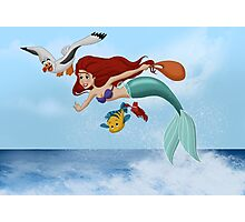 "The Little Mermaid - Ariel ""Flying with Scuttle"" Photographic Print"