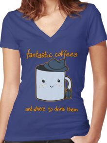 Fantastic coffes & where to drink them! Women's Fitted V-Neck T-Shirt