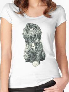 Cockapoo with a ball (Blue) Women's Fitted Scoop T-Shirt