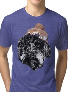 Cockapoo in a Winter Hat (Pink) Tri-blend T-Shirt