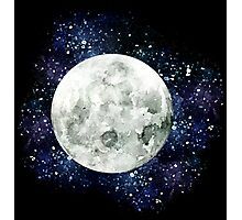 Moon - Star Gazer- Ink & Watercolor Galaxy Photographic Print
