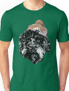 Cockapoo in a winter hat (white) Unisex T-Shirt