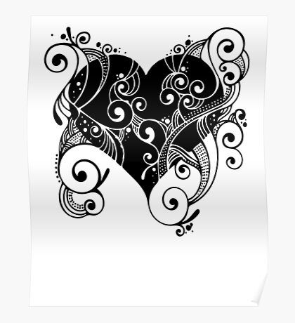 Abstract Floral Heart Poster