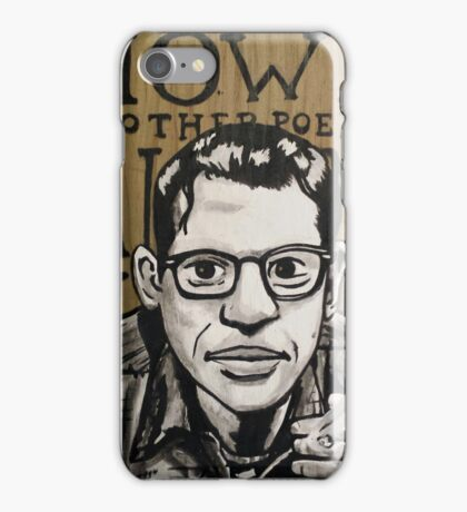 Allen Ginsberg Portrait on Wood iPhone Case/Skin