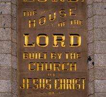 Salt Lake Lds Temple Dedication Plaque Close-up Sticker