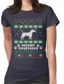 Merry Pawsmas Russell Dog Christmas T-Shirt Womens Fitted T-Shirt