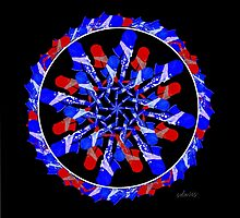 sdd Red Blue Painted Sax Mandala Fractal 3G by mandalafractal