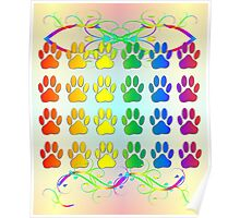 Rainbow Pawsprints With Swirls And Flourishes Poster