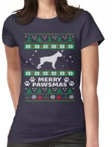Merry Pawsmas Boxer Dog Christmas T-Shirt Womens Fitted T-Shirt