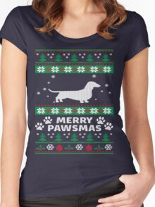 Merry Pawsmas Dachshund Dog Christmas T-Shirt Women's Fitted Scoop T-Shirt
