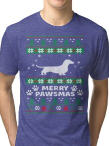 Merry Pawsmas Dachshund Dog Christmas T-Shirt Tri-blend T-Shirt