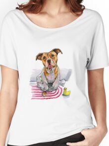 Tan Pit Bull Dog in Bathrobe Watercolor Women's Relaxed Fit T-Shirt