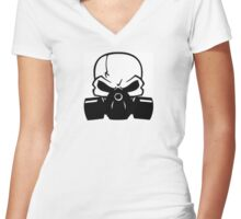 Skull Gasmask Women's Fitted V-Neck T-Shirt