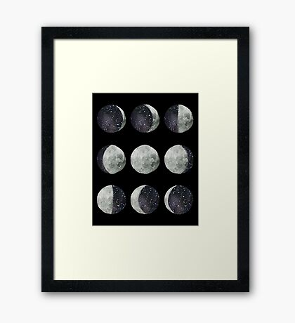 Moon Phases - Watercolor & Ink Framed Print