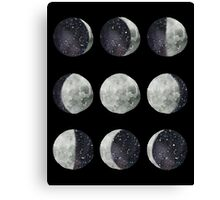 Moon Phases - Watercolor & Ink Canvas Print