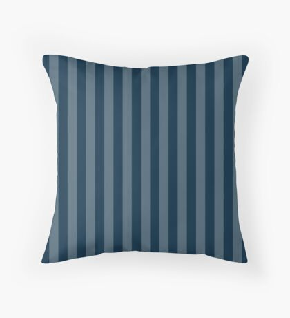 Large Faded Two Tone Christmas Blue Cabana Tent Stripe Throw Pillow