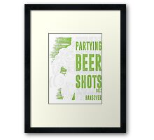Work Out Party Protein Shakes Beer Weight Lifting T-Shirt Framed Print