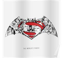 Batman Superman Illustration Light Poster