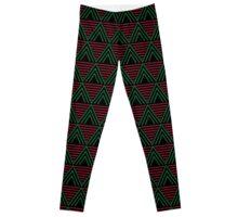 African Geometric Print - Red, Green, Black Leggings