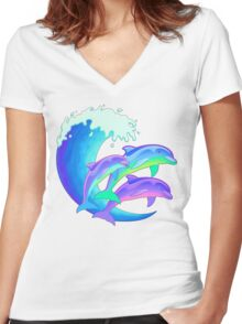Psychedelic Dolphins Women's Fitted V-Neck T-Shirt