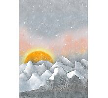 Alone in a Sunrise Snowstorm Photographic Print