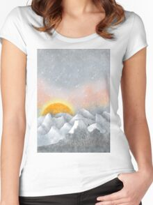 Alone in a Sunrise Snowstorm Women's Fitted Scoop T-Shirt