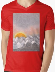 Alone in a Sunrise Snowstorm Mens V-Neck T-Shirt