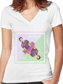 Robbie Kay - Flower/Pastel Edit Women's Fitted V-Neck T-Shirt