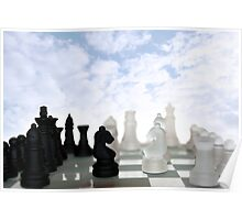 chess pieces isolated against blue sky Poster