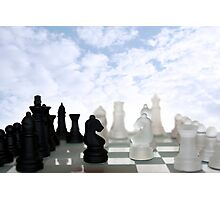 chess pieces isolated against blue sky Photographic Print