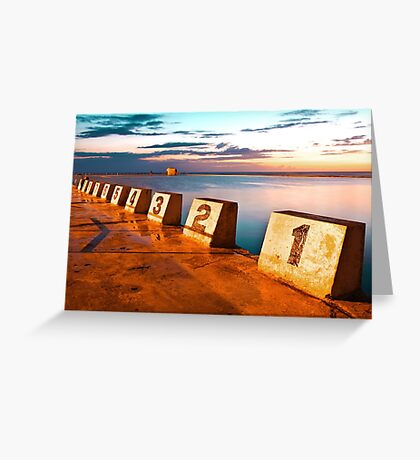 Merewether Ocean Baths in a Golden Sunrise Greeting Card