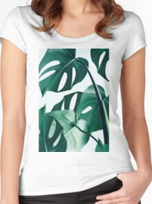 Monstera #redbubble #artprints Women's Fitted Scoop T-Shirt