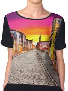 A Cobblestone Street In Venice Chiffon Top