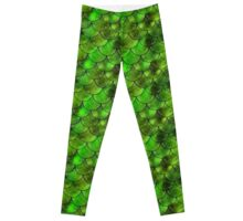 Mythical Green Dragon Scales Pattern Leggings