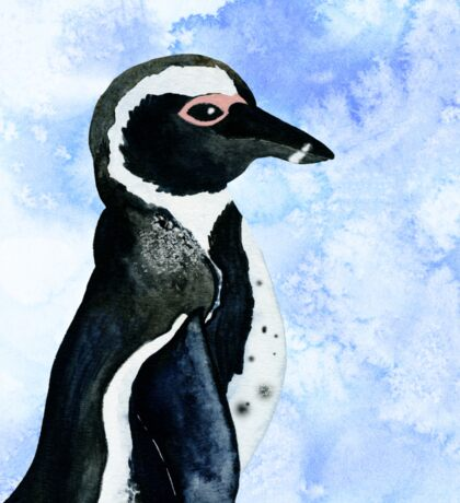 African Penguin Watercolor Arctic Ice Blue Winter Sticker