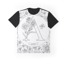 A is for Aster Black & White Graphic T-Shirt