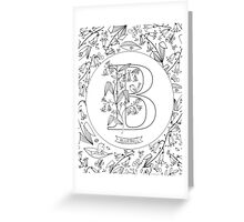 B is for Bluebell Black and White Greeting Card