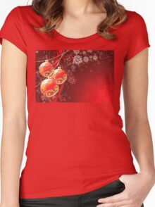 Red Christmas Balls Women's Fitted Scoop T-Shirt