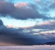 Storm Cloud Across Frozen Bay Sticker