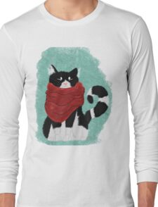 Cute Cozy Black and White Cat Long Sleeve T-Shirt