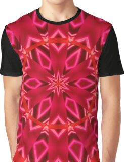 Satiny Round Layered Abstract Pink Flowers Graphic T-Shirt