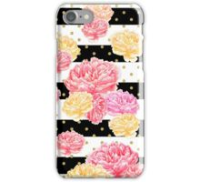 Black & White Striped Floral with Gold Dots iPhone Case/Skin